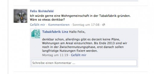 Screenshot: Facebookseite Tabakfabrik